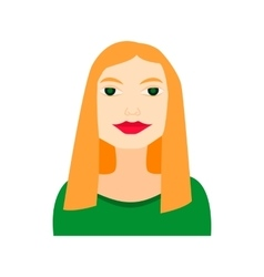 Blonde woman flat icon with green dress vector