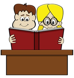 boy and a girl studying vector image
