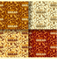 bread and bakery color seamless patterns vector image