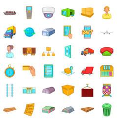 cargo icons set cartoon style vector image