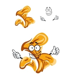 Cartoon isolated orange chanterelle mushroom vector