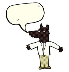 Cartoon wolf with speech bubble vector