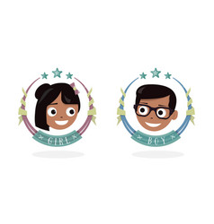 children icon happy girl and boy the baby head vector image