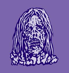 Dangerous head of zombie woman vector