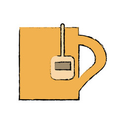 Drawing mug tea hot break office work vector