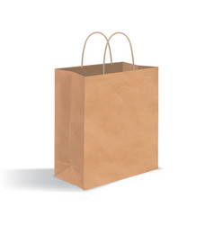 Empty brown paper bag with handles realistic vector