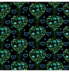 Floral vintage seamless pattern with hearts vector