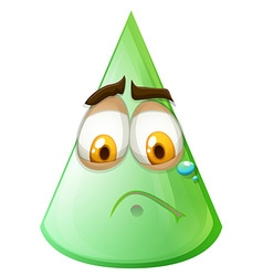 Green cone with sad face vector