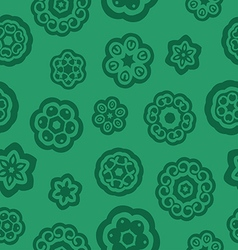 Green flowers pattern with stalk and leaves vector