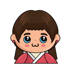 kawaii japanese girl icon vector image