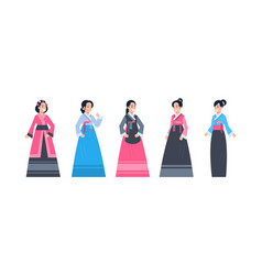 Korea traditional clothes set of women wearing vector