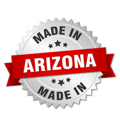 Made in arizona silver badge with red ribbon vector
