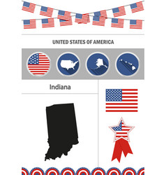 map of indiana set of flat design icons vector image