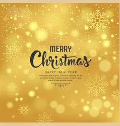 merry christmas with snowflake on gold background vector image vector image