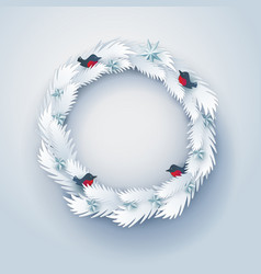 paper christmas decorated wreath vector image vector image