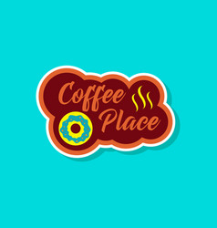 Paper sticker on stylish background coffee drink vector