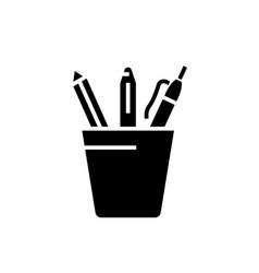 pencil holder icon black vector image