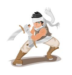 persian warrior man character pose vector image vector image