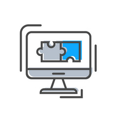 Process management icon with monitor sign vector