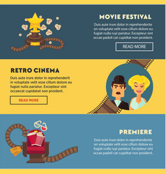 retro cinema movie premiere festival flat vector image vector image