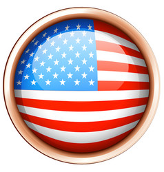 Round badge design for flag of america vector