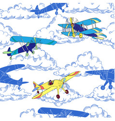 Seaml colors airplanes-03 vector