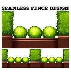 Seamless fence design with green bush vector