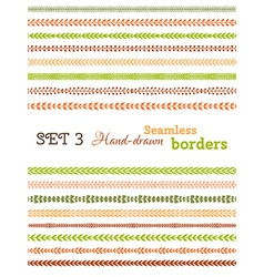 set of colourful seamless borders vector image