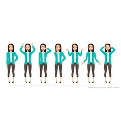 set of emotions and gestures to the young asian vector image vector image