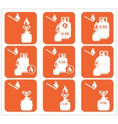 Set of tourism cooking equipment icons vector