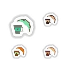 Set stylish paper stickers cup of coffee and a vector image vector image