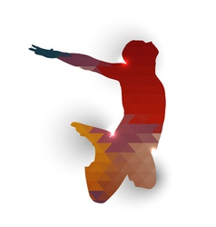 Silhouette of jumping boy vector image vector image