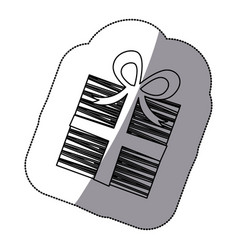 Sticker shading silhouette striped gift box with vector