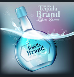 tequilla glass bottle realistic product vector image