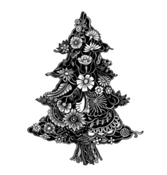 Christmas Tree of flowers vector image