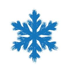 Winter hand drawn grunge brush stroke snowflake vector