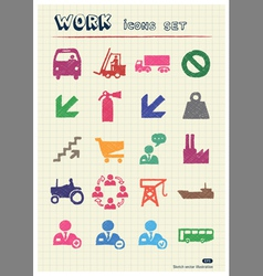 Industrial work and repair web icons set vector