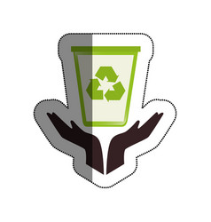 Hands human with recycle bin vector