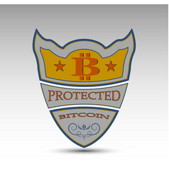 Shield with bitcoin symbol vector