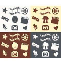 Simple cinema patterns vector image