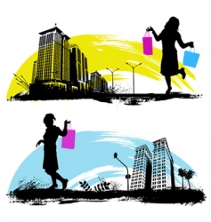 shopping in the city vector image