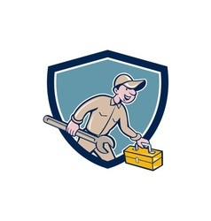 Mechanic carrying toolbox spanner shield cartoon vector