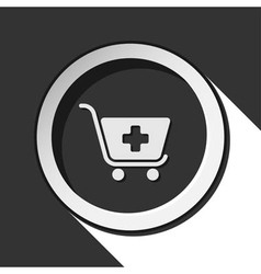 icon - shopping cart plus with shadow vector image