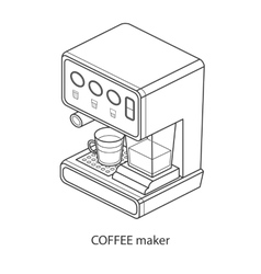 Coffee machine with cup isometric vector