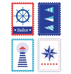 Sailor stamps for summer collection vector