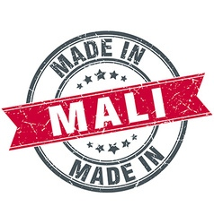 Made in mali red round vintage stamp vector