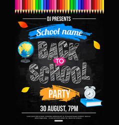 Back to school party poster template vector
