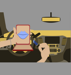 beautiful woman driving car vector image vector image