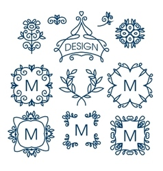 Big set of line floral design elements for vector image