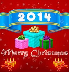 Blue ribbon 2014 Christmas gifts vector image vector image